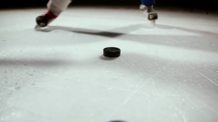 hockey rink : Professional hockey player produces a shot on goal at ice arena.