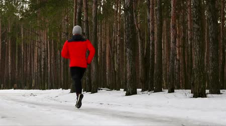 actively : A young man in a red jacket runs through the forest in a jumper in casual clothing. Back view. Slow motion. 120 frames per second Stock Footage