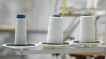 meada : Closeup of three big bobbins with thin white thread on working professional sewing machine. Real time full hd video footage Vídeos