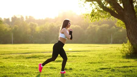 squat : Young muscular fitness woman doing squats exercise in the nature. Stock Footage