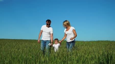 t shirt bianca : Mother father and son walk in the field with spikes in white t-shirts and jeans smiling cheerfully at each other