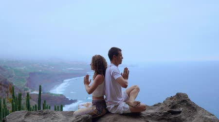 heterosexuální : Man and woman sitting on top of a mountain on a rock back to back meditate and do yoga on the background of the ocean.