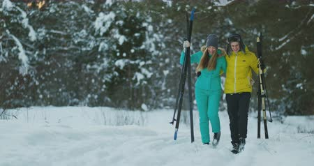 nordic countries : A man and woman cross-country skiing in the winter forest