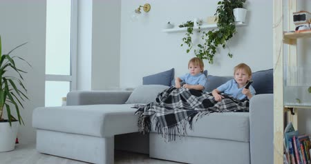 fratellanza : Two boys, 4 and 2 years old, are watching TV sitting on the couch. An exciting TV show. View cartoons. Children watch an exciting TV show.