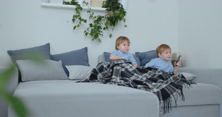 paplan : Two boys, 4 and 2 years old, are watching TV sitting on the couch. An exciting TV show. View cartoons. Children watch an exciting TV show.