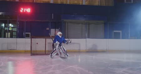 タイプスクリプト : Professional hockey player attacks the gate and strikes, but the goalkeeper beats the puck. A goal in hockey. Goal scored. Bullet penetration
