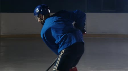 western script : Professional athlete male hockey player turns in front of the camera with a puck and strikes the opponents goal and scores