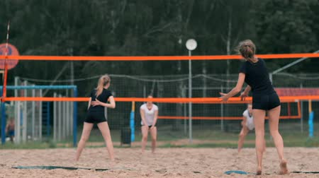 voleybol : Professional volleyball serve woman on the beach tournament. Volleyball net the player blocks the view when applying Stok Video