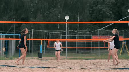 alıcı : Professional volleyball serve woman on the beach tournament. Volleyball net the player blocks the view when applying Stok Video