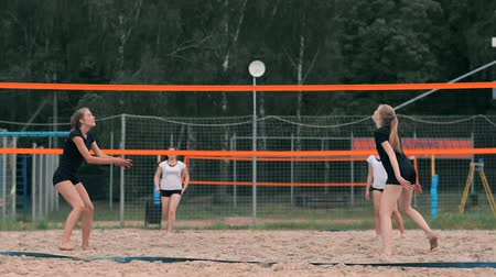 バレーボール : Professional volleyball serve woman on the beach tournament. Volleyball net the player blocks the view when applying 動画素材