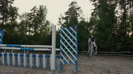 難しさ : Young female rider on bay horse jumping over hurdle on equestrian sport competition.