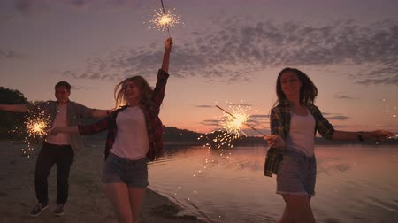 межрасовый : Group of friends having fun running on the beach with sparklers.