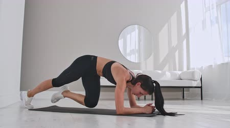 bodyweight : Female brunette fitness trainer demonstrating plank knee to chest technique on a mat in home.