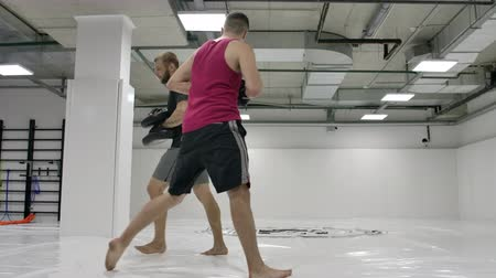 kickbox : On training on the mixed fights the man beats a knee on paws of the trainer in a jump. Slow motion