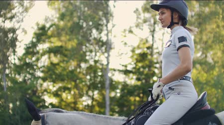 salto ostacoli : Horseback riding from female. Slow motion Filmati Stock