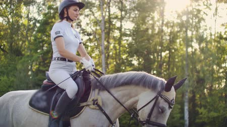 hoefijzer : Horseback riding from horsewoman Slow motion