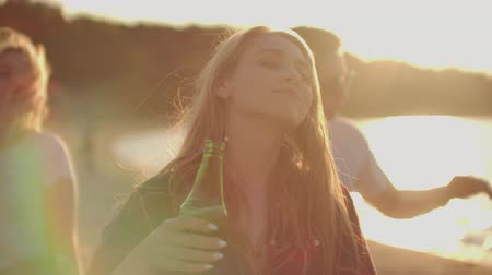 friendship dance : A young girl is dancing on the open air party Stock Footage