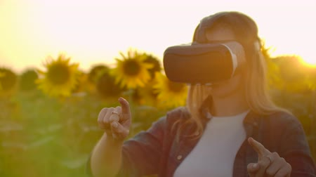 artificial flower : The female girl is working in VR glasses at sunset Stock Footage