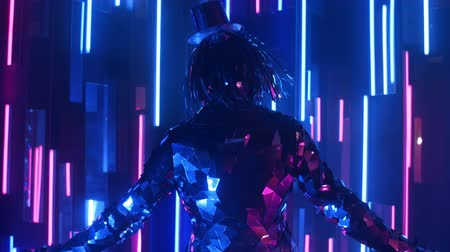výstřední : A steel silver woman dances in a glittering costume in the light of a neon wall