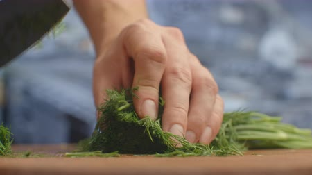 укроп : Closeup of cutting green dill on a board in the kitchen on a wooden board. cutting grass and greenery. Стоковые видеозаписи