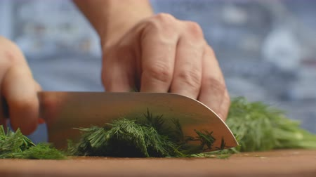 kapor : Closeup of cutting green dill on a board in the kitchen on a wooden board. cutting grass and greenery. Stock mozgókép