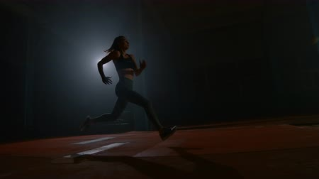 sandpit : A sporty woman runs up in a stadium and performs a long jump in slow motion in a stadium on a dark background Stock Footage