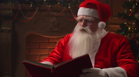 klauzule : On Christmas eve, in a cozy atmosphere, Santa Claus reads a red book on the background of a fireplace and a Christmas tree with garlands.