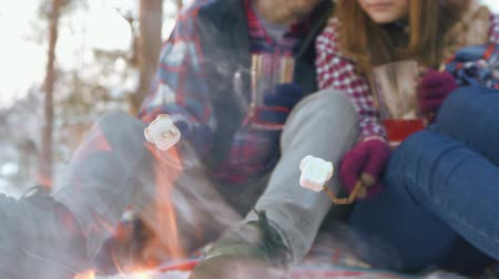kazık : man and girl couple, fry marshmallows at the stake in the woods in winter Stok Video