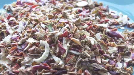 colored spices vegetables dried on a plate rotation Wideo