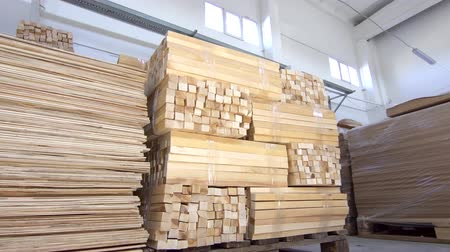 oak wood : wooden planks in stock commercial warehouse Stock Footage