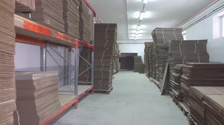 oluklu : warehouse with stacks of folded brown cardboard Stok Video