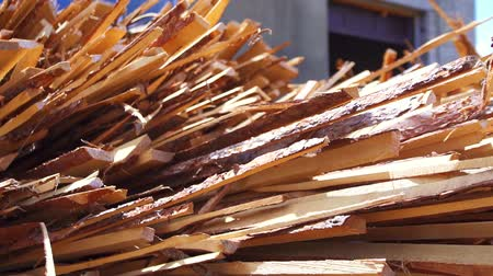 stockpile : warehouse wooden boards in the sun