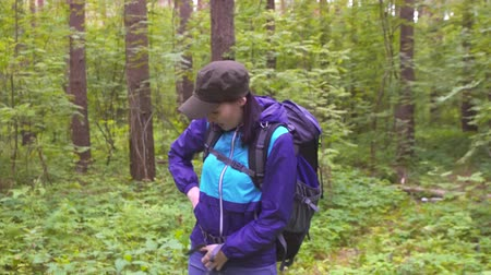 karışıklık : confused woman in panic with backpack, lost in the woods calling for help Stok Video