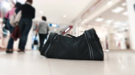 fuse : Forgotten suspicious black bag,close up Stock Footage
