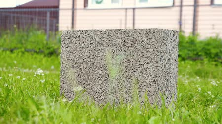 press wall : building cement block on green grass in front of the house Stock Footage