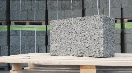 press wall : building cement block on the background of the warehouse Stock Footage