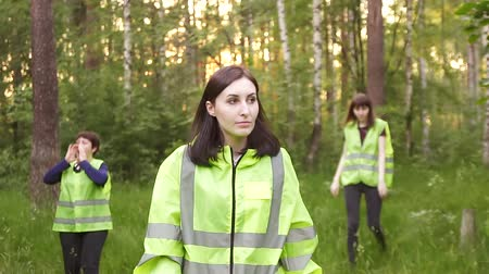 dead forest : volunteers in green vests go through the woods, the search for the missing person