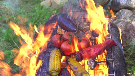 ペッパーコーン : grilled vegetables on the fire in nature