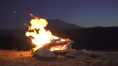 self made : Lit a fire at night in the mountains