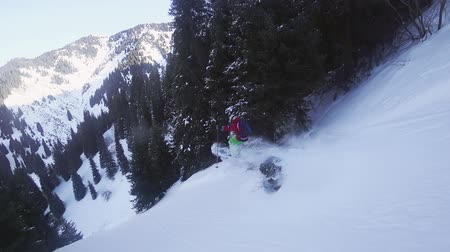 Footage of skier jumping from tree at mountain, winter