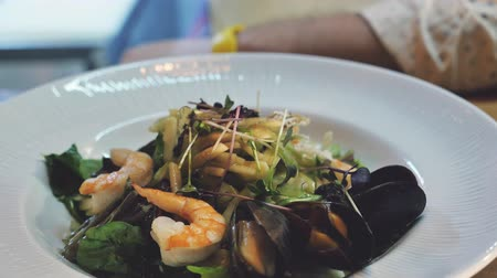 Healthy Organic Salad with Shrimp And Mussels