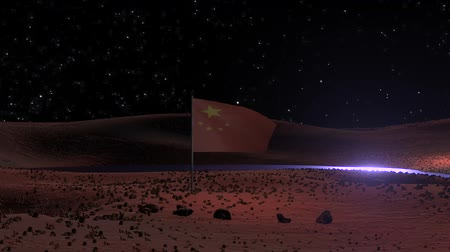 Марс : Chinese flag on Mars martian space colony scifi science exploration space video background