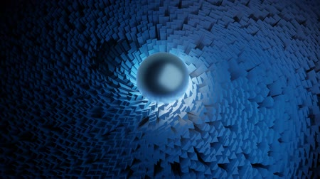 burmak : Blue illuminated ball moving around a sea of triangular pillars seamless video loop abstract background Stok Video