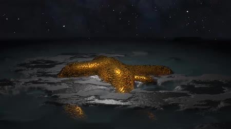 minério : Asteroid gold deposit in outer space 3d render seamless loop video background