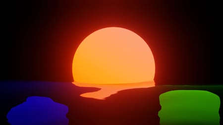 rendered : RGB abstract sun video background loop Stock Footage