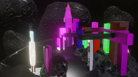 aeroespaço : Futuristic mining colony on asteroid 3d motion graphic