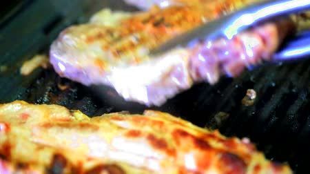 bbq grill : Baking fresh meat on grill closeup Stock Footage