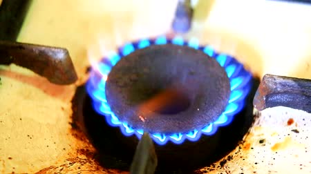 gas burner flame : Flame on a gas hob closeup