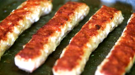 veal recipes : Baking fresh minced meat on barbecue closeup