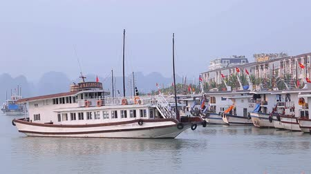 Halong Bay, Quang Ninh, Vietnam. March 6, 2019 : View of Halong Bay Cruise ship at Tuan Chau International Marina Station at the Halong Bay Pier in Quang Ninh, Halong Bay, Vietnam.